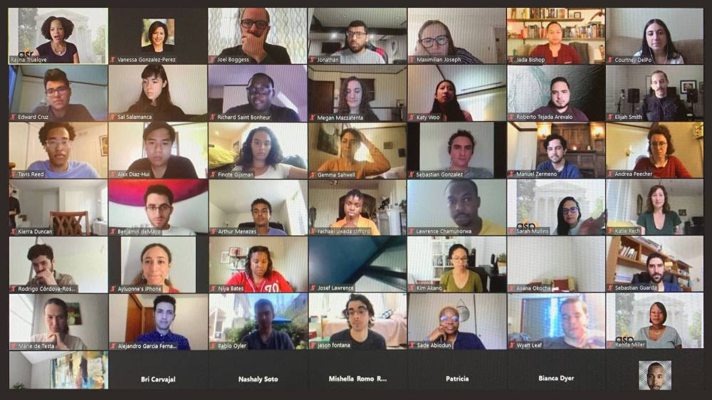 Rectanles of people in a video conference
