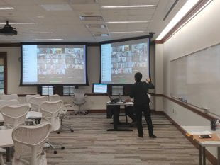 Online collaboration is underway at Rice Business. (Photo courtesy of Rice Business)
