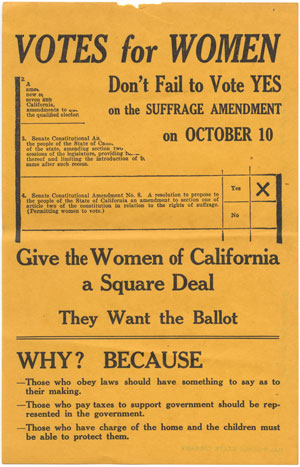 A flier from the 1911 California election on Senate Constitutional Amendment No. 8, which gave women the right to vote.