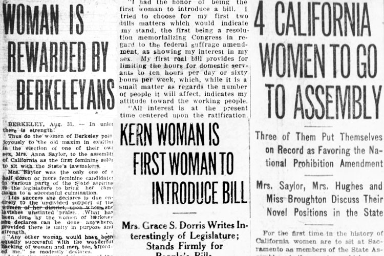 a selection of headlines from newspaper coverage of the first four women elected to the California Legislature in 1918