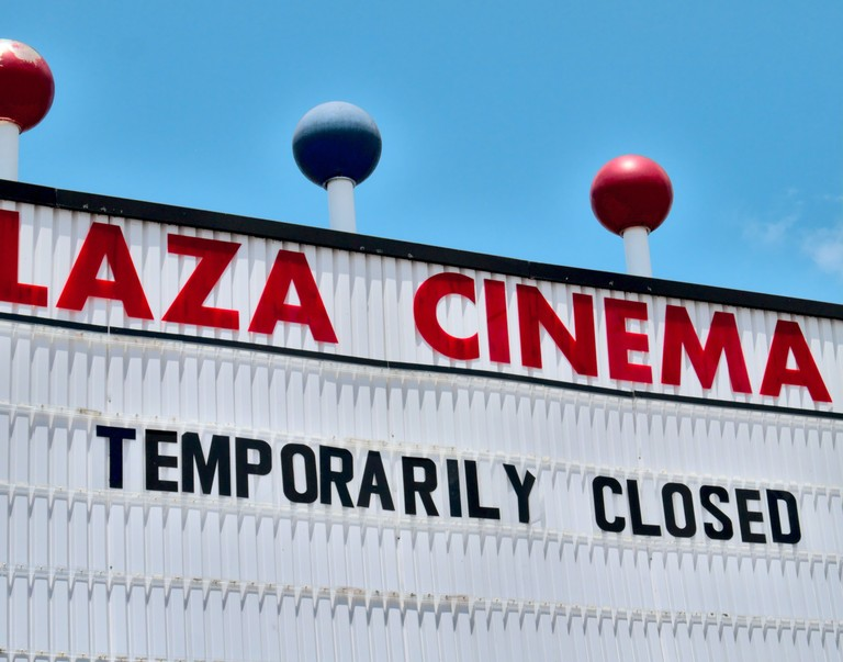 Closed theatre marquee