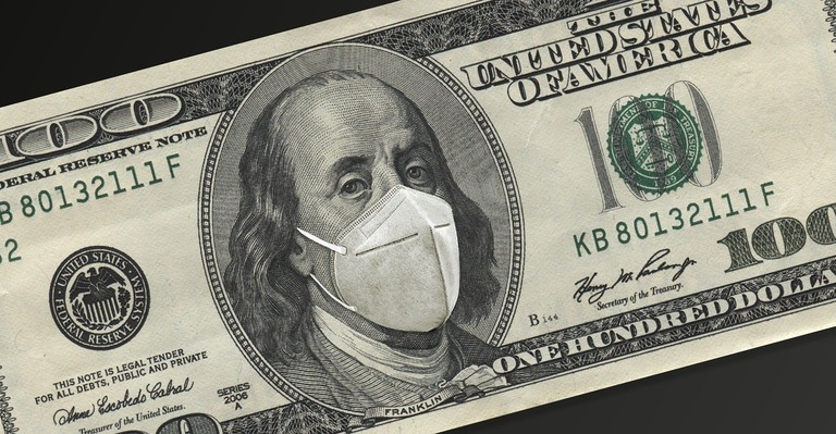 $100 bill with Ben wearing mask