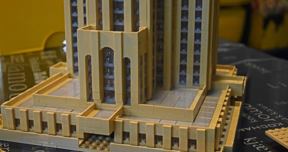 a close-up of a tan-ish yellow LEGO Cathedral