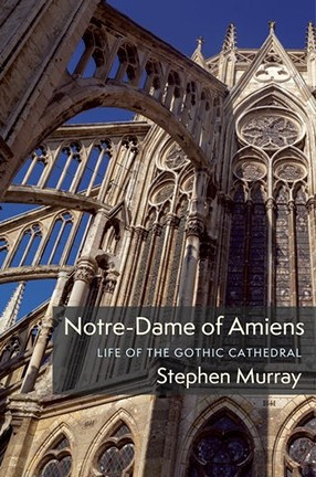 A book cover with white type and a photo of a cathedral.