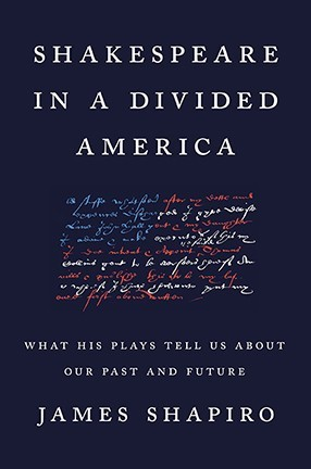 """A black book cover with the text """"Shakespeare in a Divided America"""" written across the top."""