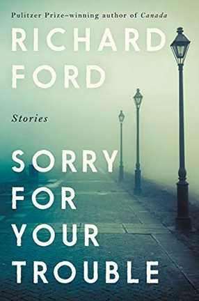 """A book cover with three foggy lamps on it and the text """"Sorry For Your Trouble."""""""