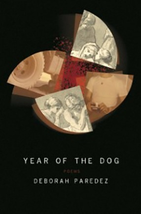 """A black book cover featuring neutral images in four quadrants of a circle and the text """"Year of the Dog."""""""