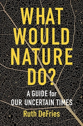 """A book cover with a black background in the pattern of leave veins and yellow text reading """"What Would Nature Do?"""""""