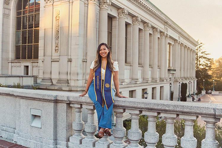 Katalina Cortez posing with her graduation regalia