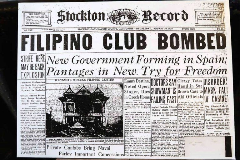 """Archival newspaper clipping stating """"Filipino Club Bombed"""""""