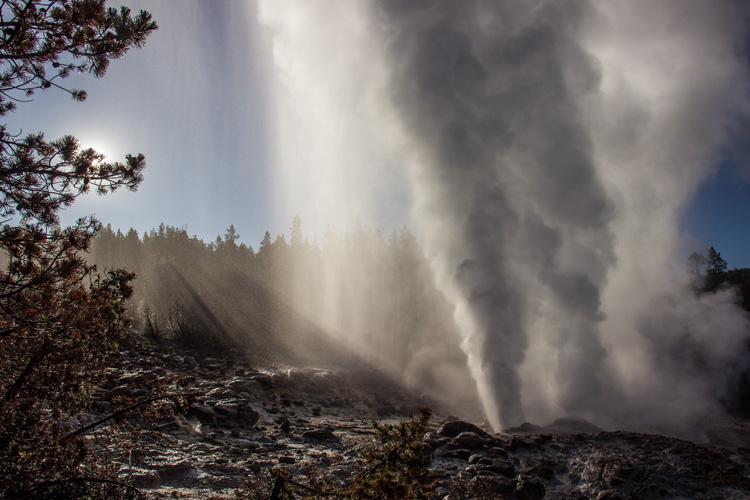 an eruption of Steamboat Geyser