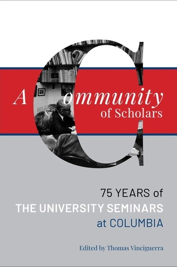 "Book cover for ""A Community of Scholars,""  edited by Thomas Vinciguerra, in gray, red, and white text and blocks of color."