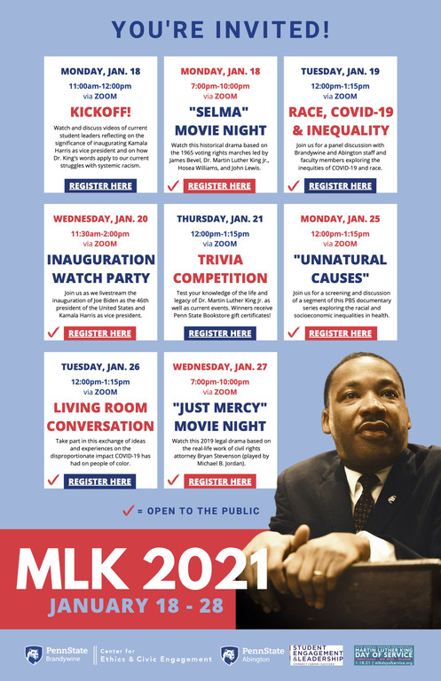 Flyer listing events for MLK 2021 celebrations at Penn State Brandywine and Abington