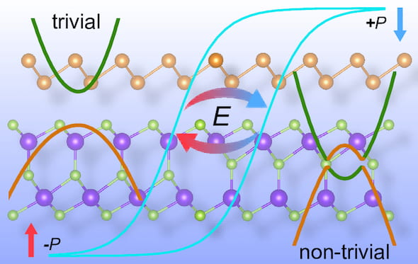 Rice University materials theorists show how a unique two-dimensional compound of antimony and indium selenide can have distinct properties on each side, depending on polarization by an external electric field, with possible applications in solar energy and quantum computing. The figure indicates that two states for nonvolatile memory devices can be flipped by the polarization of the ferroelectric layer. (Credit: Illustration by Jun-Jie Zhang/Rice University)