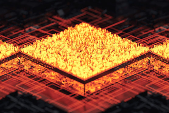 glowing computer chip