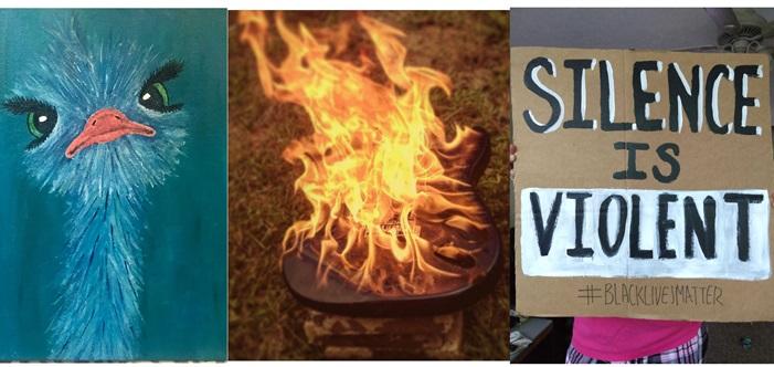 bird fire BLM sign