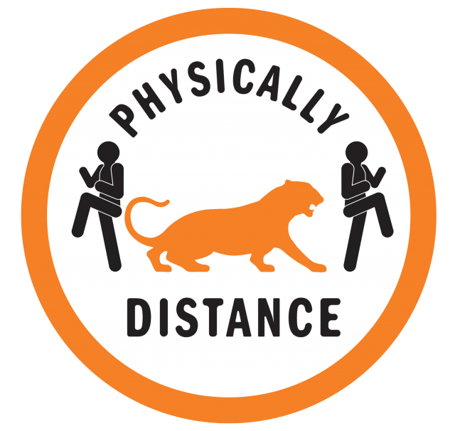 "Badge that reads ""Physically Distance"" while 2 stick figures turn away from a tiger"