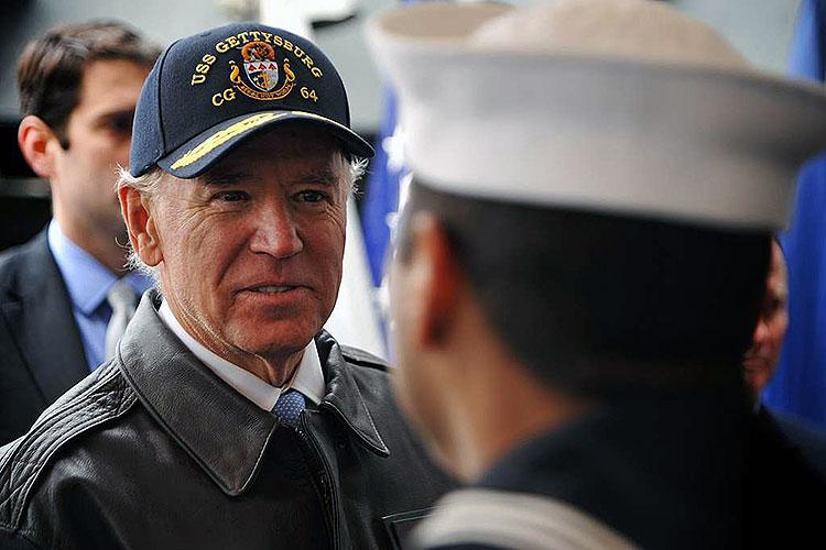Vice President Joe Biden greets a sailor