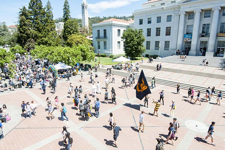 A photo of people on Sproul plaza